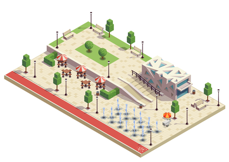City park infrastructure facilities  isometric composition with dry fountains outdoor cafe furniture modern public building vector illustration