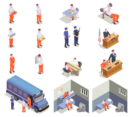 Prison jail isometric elements set with trial sentenced criminals transportation visitation cells gym guards isolated vector illustration
