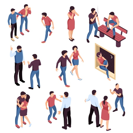 Teenagers problems isometric set with bullying and loneliness romantic relations smoking and parents misunderstanding isolated vector illustration Stock Illustratie