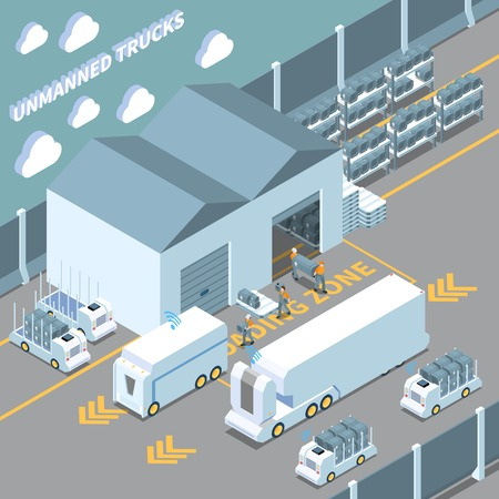 Autonomous car driverless vehicle robotic transport isometric composition with unmanned trucks being loaded by warehouse workers vector illustration