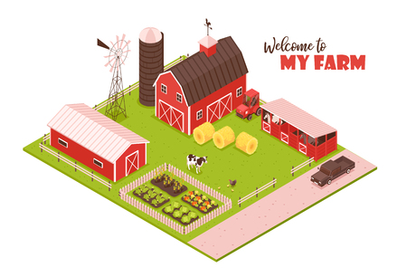 Isometric farm background with editable text and view of farmstead buildings barns agrimotor and wind spinner vector illustration