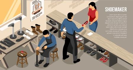 Master during customer communication at shoe work shop isometric horizontal vector illustration