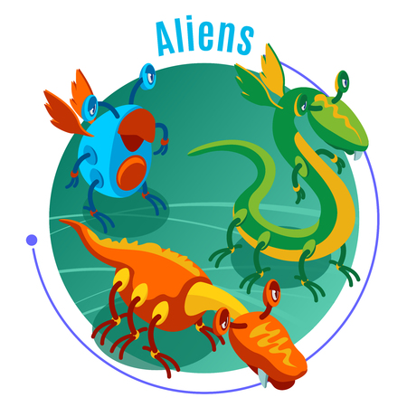 Colored isometric aliens background with blue headline and three different monsters on green round background vector illustration Illustration