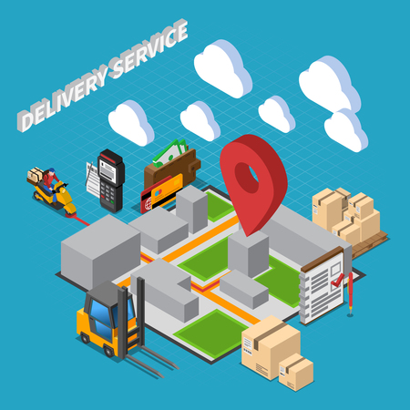 Delivery service isometric composition with elements of warehouse interior and logistic  icons vector illustration
