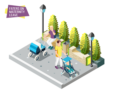 Fathers on maternity leave walking in city park with newborns sleeping in their strollers isometric design concept vector illustration Foto de archivo - 116212163