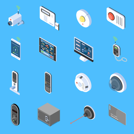Home security isometric icons set with elements of video surveillance system fire alarm and code locks isolated vector illustration Illustration