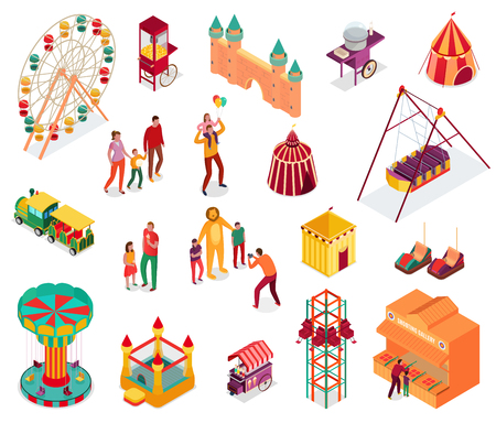 Conjunto de elementos isométricos del parque de atracciones con visitantes, comida callejera y atracciones, ilustración vectorial aislada