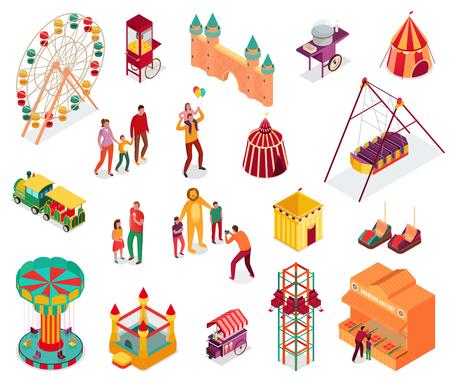 Ensemble d'éléments de parc d'attractions isométriques avec des visiteurs de la nourriture de rue et des attractions isolées illustration vectorielle