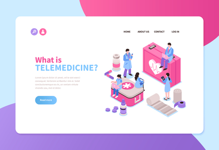 Telemedicine service isometric horizontal banner with online doctors 3d vector illustration Vectores