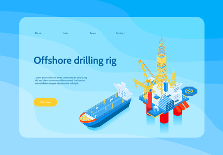 Horizontal isometric oil industry concept banner with offshore drilling rig headline and yellow see more button vector illustration