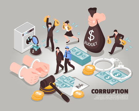 Illustrazione vettoriale isometrica di corruzione Icone incluse che simboleggiano riciclaggio corruzione appropriazione indebita corrotto giudice corrotto politico