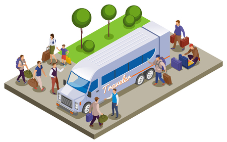 Travel people isometric composition with passengers meeting on tourist bus station for traveling vector illustration