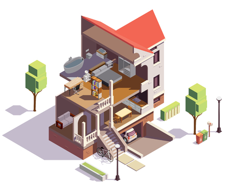 Suburbian buildings isometric composition with profile view of villa residential building with overview of living rooms vector illustration  イラスト・ベクター素材