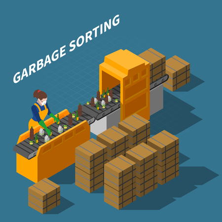 Garbage recycling isometric composition with female worker in uniform and automatic conveyor with waste and text vector illustration Ilustrace