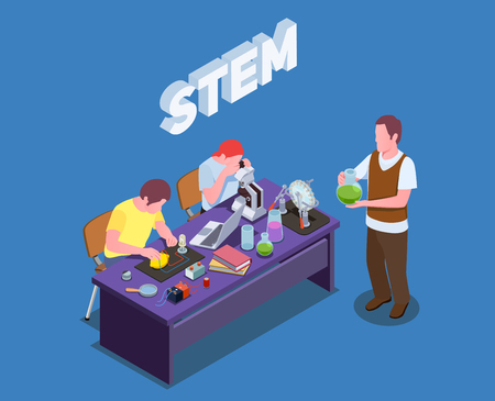 STEM education isometric composition with text and human characters of students and teacher performing laboratory studies vector illustration