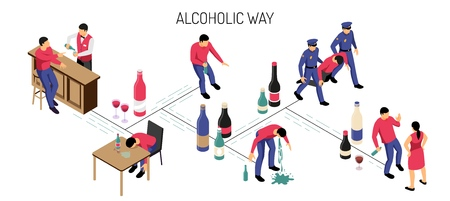 Alcoholism stages development from drinking alone in bar till binge on white background isometric horizontal vector illustration