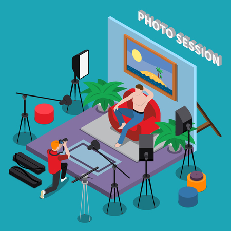 Photo session in studio isometric background with guy of brutal appearance posing for photographer vector illustration Çizim