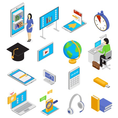 Online education icons set with knowledge symbols isometric isolated vector illustration Illustration