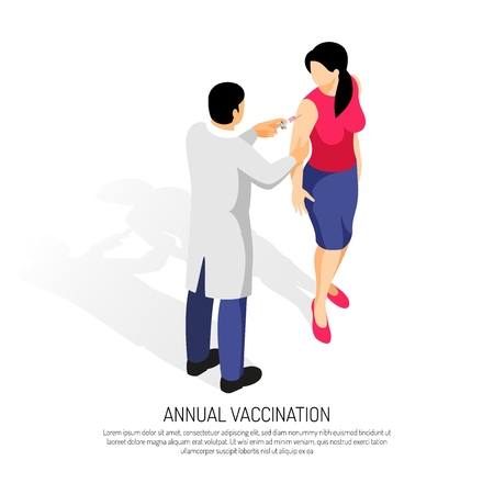Doctor making a vaccine to a female patient vector illustration Stock Illustratie