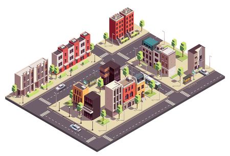 La composizione isometrica degli edifici della casa a schiera con il paesaggio urbano e le strade con i blocchi di città che vivono le case e le automobili vector l'illustrazione