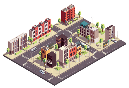 Townhouse buildings isometric composition with urban landscape and streets with city blocks living houses and cars vector illustration