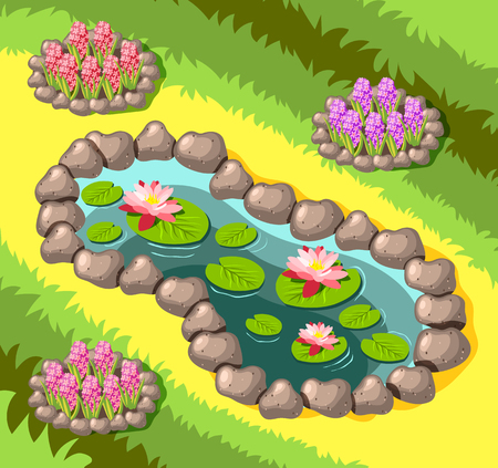 Landscaping decorative garden pond with stone border and flowers on yellow green  background isometric vector illustration Stock Illustratie
