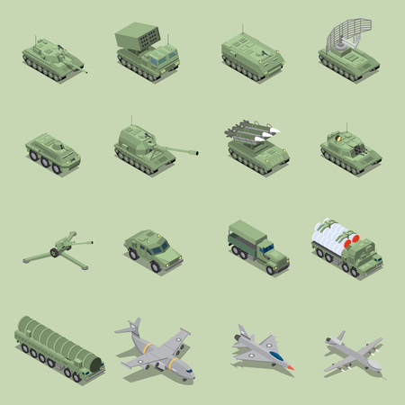 Military vehicles isometric set with tank cannon, rocket launcher jet fighter self propelled howitzer isolated icons vector illustration