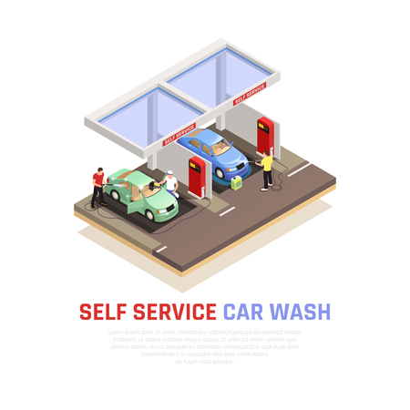 Carwash isometric composition with self service wash symbols vector illustration