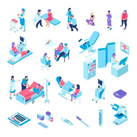 Isometrische gynaecologie zwangerschap set met geïsoleerde afbeeldingen van medische faciliteiten onderzoek stoel medicatie en menselijke karakters vector illustratie Vector Illustratie