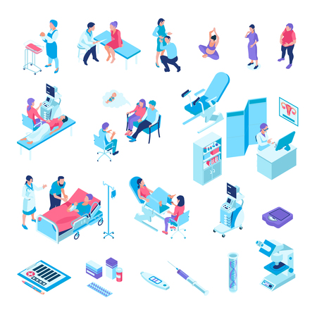 Isometric gynecology pregnancy set with isolated images of medical facilities examination chair medication and human characters vector illustration