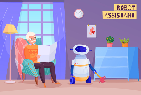 Elderly man in chair during reading and robot helper in home interior vector illustration Ilustração