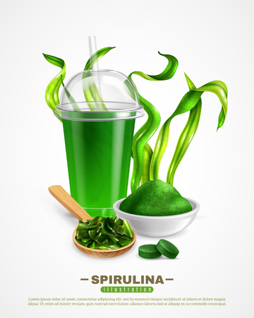 Spirulina supplement white background poster with dried algae powder drink tablets chopped seaweeds realistic composition vector illustration