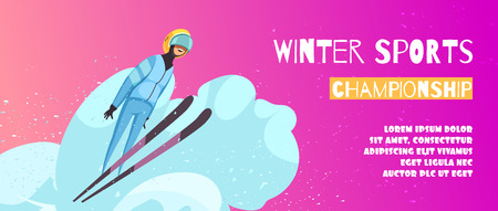Winter extreme sports championship poster with jumping symbols flat vector illustration Illustration