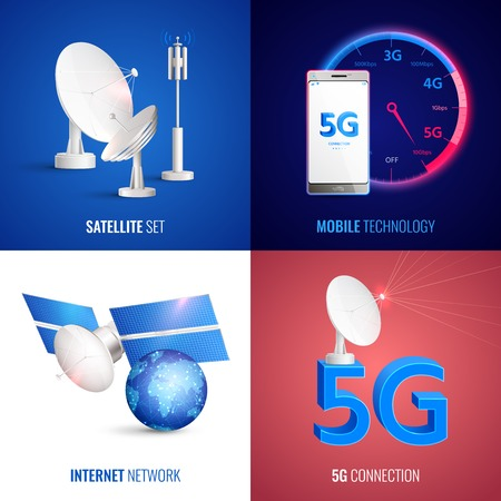 Futuristisches Mobiltechnologie 2x2-Designkonzept mit Satelliten-Internet-Netzwerk und 5g-Verbindungsquadratsymbolen realistische Vektorillustration Vektorgrafik