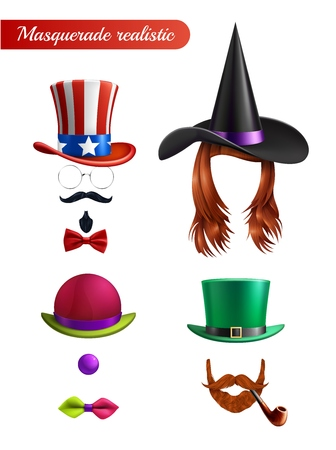 Masquerade set on white background with wig mustache beard tube tie butterfly bowler and saint patrick hats vector illustration