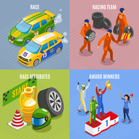 Racing sports concept icons set with racing team and award winners symbols isometric isolated vector illustration