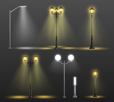 Street lights realistic composition set with six different styles and light from bulbs vector illustration