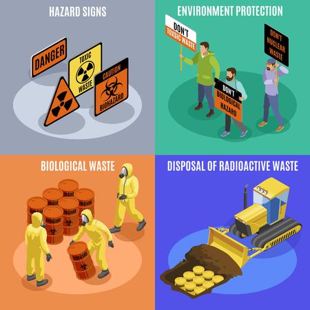 Concepto de iconos isométricos de residuos tóxicos biológicos y radiactivos 4 con activistas de protección del medio ambiente señales de peligro ilustración vectorial