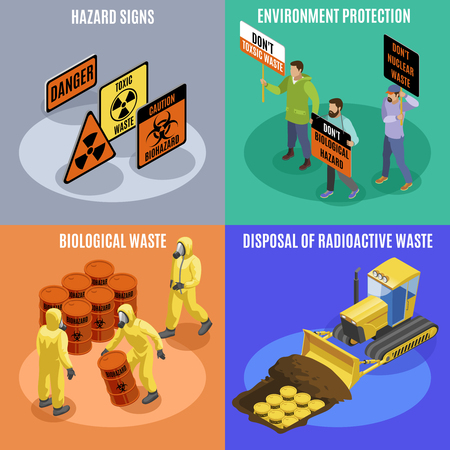 Toxic biological and radioactive waste 4 isometric icons concept with environment protection activists hazard signs vector illustration Standard-Bild - 116679554