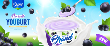 Realistic yogurt ads poster with currant yogurt nature and high quality product description vector illustration