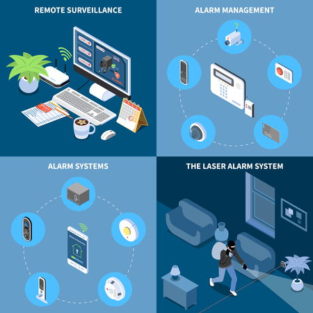 Home security 2x2 design concept set of remote surveillance alarm management laser alarm system square icons isometric vector illustration Illustration