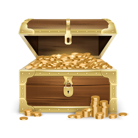 Realistic open old wooden chest with golden coins and lock on white background isolated vector illustration