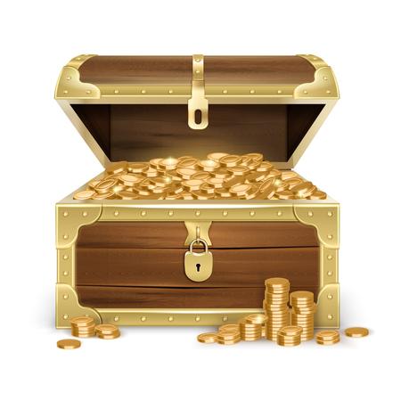 Realistyczna otwarta stara drewniana skrzynia ze złotymi monetami i zamkiem na białym tle izolowane ilustracji wektorowych