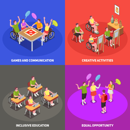 Colorful isometric 2x2 icons set with people at school with inclusive education 3d isolated vector illustration