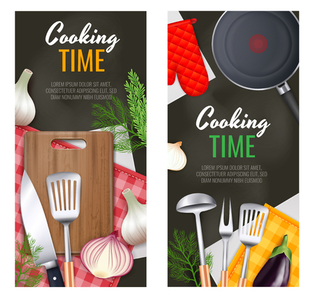 Kitchen utensils vertical banners set with cooking time symbols realistic isolated vector illustration