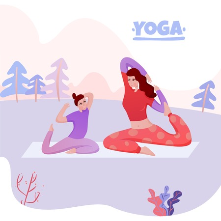 Mom with daughter on mat during yoga exercises on nature background flat vector illustration Illustration