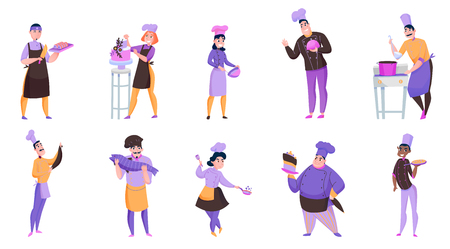 Friendly male and female cooks holding various dishes isolated on white background vector illustration