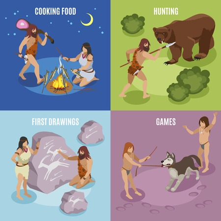 Stone age isometric concept icons set with games and drawings symbols isolated vector illustration