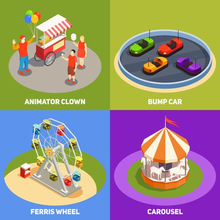 Colorful isometric 2x2 design concept with clowns carousel bump cards ferris wheel in amusement park 3d isolated vector illustration Illustration