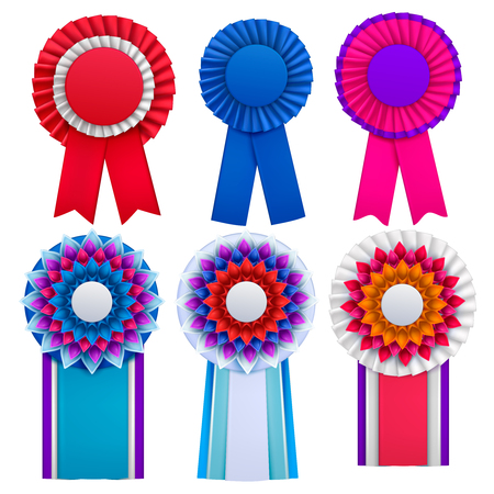 Bright blue red pink purple awards circulair rosettes badges lapel pins with ribbons realistic set vector illustration